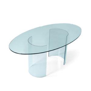 Tavolo in vetro base U ovale 160