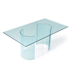 Tavolo vetro base U piano rettangolare 180