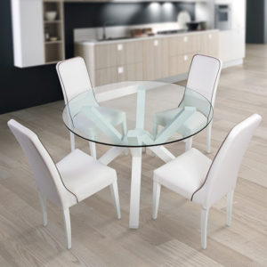 Tavolo vetro tondo Xero bianco