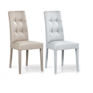 Sedia in legno e tessuto Praga colore grigio e beige Teypat