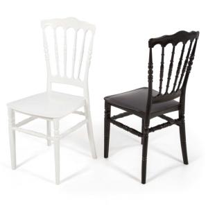 Sedia Marsiglia in polipropilene colore bianco e nero Teypat