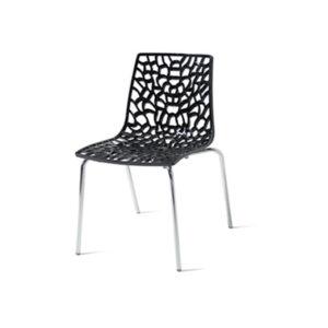 Sedia in cromo e polipropilene colore nero Net