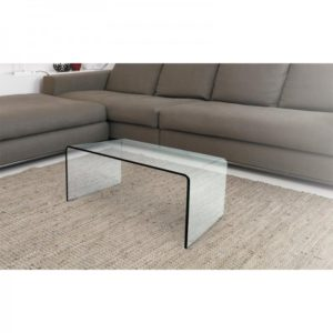 Tavolino in vetro curvato bridge