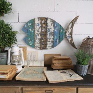 2 pannelli decorativi stile vintage fish