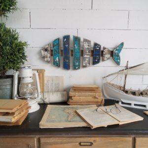 4 pannelli decorativi in stile vintage fish
