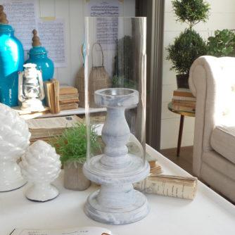 Candeliere in vetro e legno