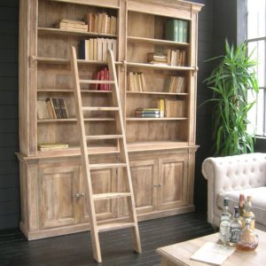 Libreria vintage nera con scala in legno massello, by Teypat