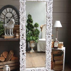 Specchiera alta classica bianco anticato 70x170