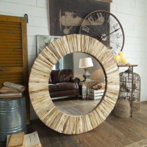 specchiera tonda in legno naturale diametro cm.109x6