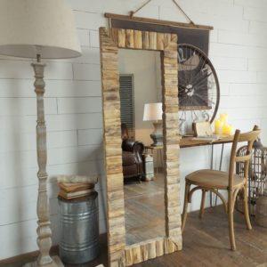Specchiera rettangolare alta in legno naturale cm.56x4xh.152