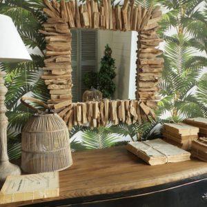 specchiera in legno naturale quadrata cm.70x7xh.70