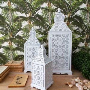 Set 3 Lanterne White Marrakech
