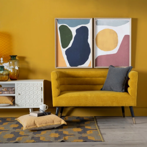 Divani 2 posti in velluto colore giallo e azzurro