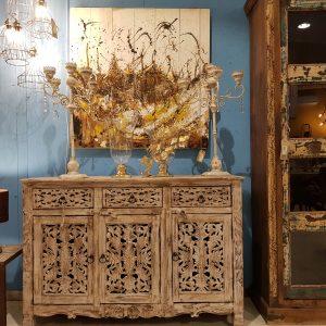 Credenza Indiana in legno di Sheesham a 3 ante e 3 cassetti Teypat