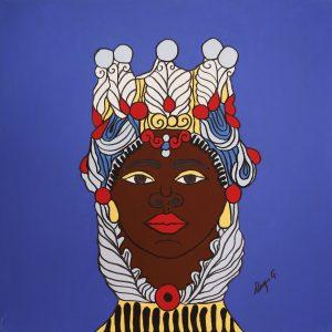 Quadro linea #IMori di Teypat - Testa di Moro donna sfondo blu