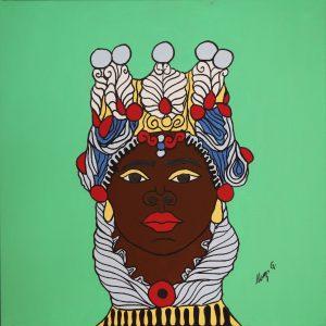Quadro linea #IMori di Teypat - Testa di Moro donna sfondo verde